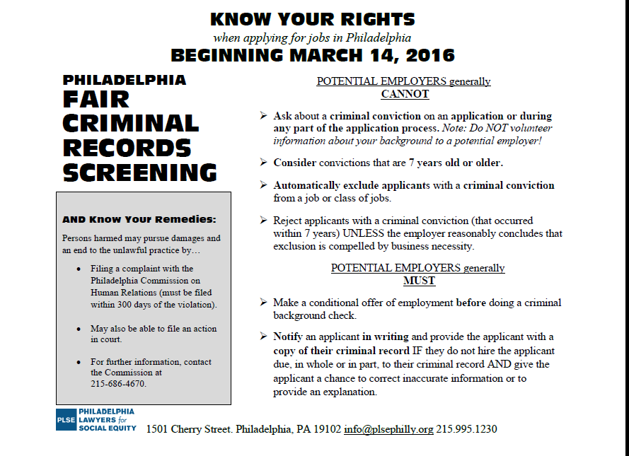 Fair criminal record screening flyer