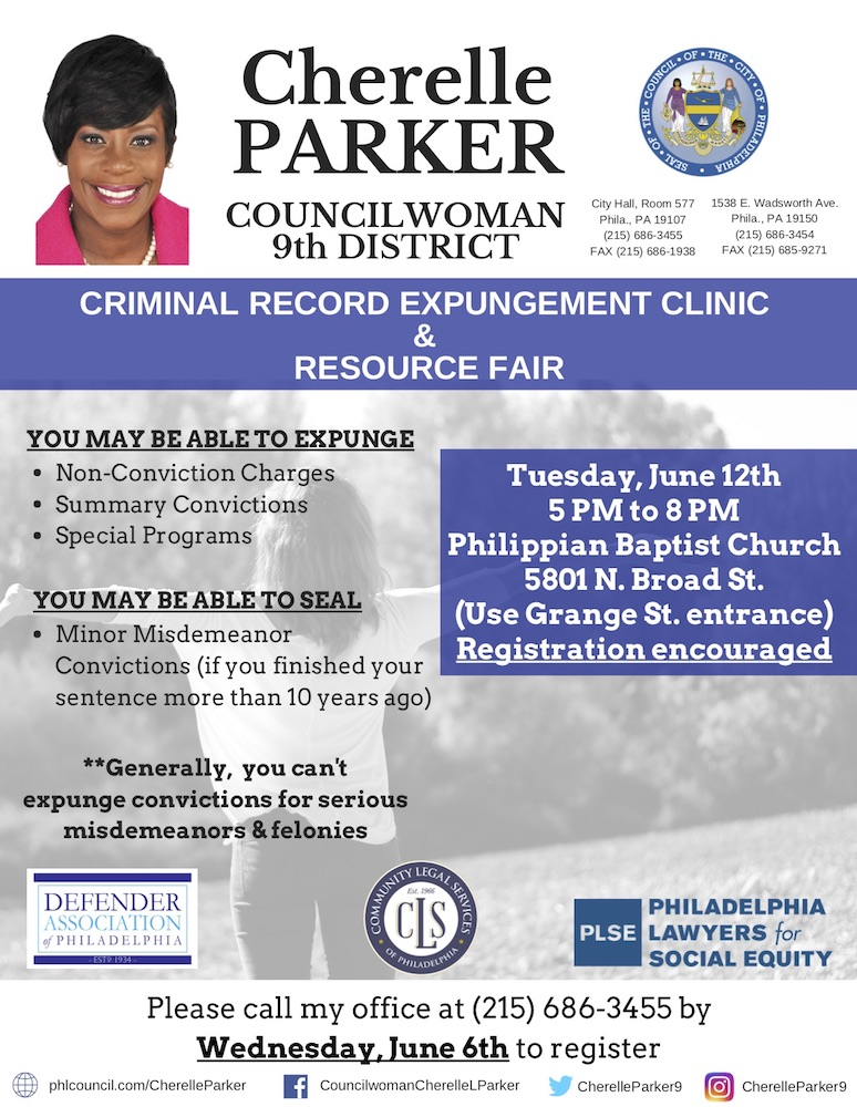 Expungement Clinic & Resource Fair w/ Rep. Cherelle Parker @ Philippian Baptist Church | Philadelphia | Pennsylvania | United States